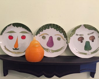 VEGETABLE FACE Plates by Villa Vanilla Palm Beach Taste Setter Made in Japan New York Palm Beach 2 AVAIL Mid Century at Modern Logic