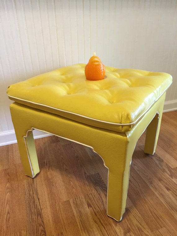 Sale Bold Tufted Ottoman Yellow Vinyl Hassock By Modernlogic