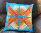 Fire and Ice Quilted Batik Pillow cover/center piece for table