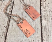 Couples Necklace Set - His and Hers - Forever and Always - Mini Dog Tags - Copper Rustic Boho Hipster Couple