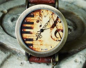 Piano Watch - Keyboard -  Wrist Watch - Light Brown Leather Like Band