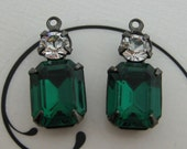 Swarovski 10x8mm Octagon Emerald Green and Crystal Clear Round Rhinestone in Gunmetal Double One Ring Setting 1 Pair