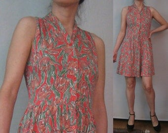 SaLE 80s LAURA ASHLEY BUTTON Down MiNI Cotton Jersey Persimmon Orange Sage Green Tulips Floral Sleeveless Dress xs/s Small s/m