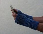 MAN  MITTS .Fingerless gloves.  ' Indigo Night ' ( denim blues) . Wool / acrylic  blend ..ready to ship..