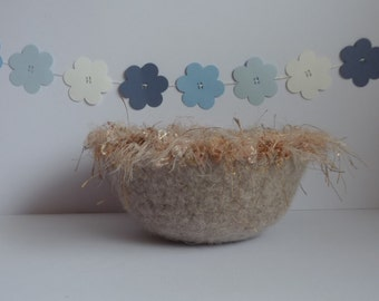 FELTED 'FUSSPOT' bowl .  ' Whisper'  (pale  beige/taupe  with silky fringe) UK seller ...ready to ship...