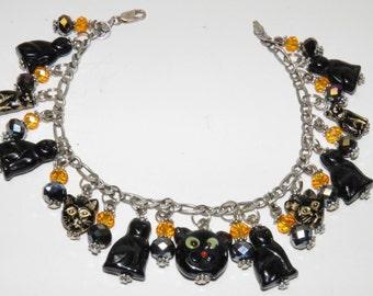 Halloween Bracelet, Halloween Black Cat Bracelet, with Handmade Artisan Lampwork Glass Beads, Halloween Jewelry, Black Cat Bracelet, OOAK #1