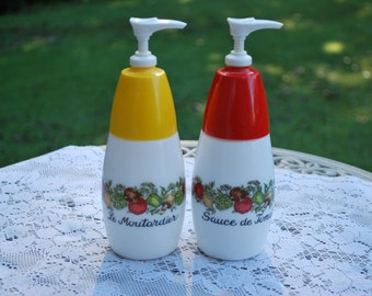 Vintage Gemco Ketchup and Mustard Pump Dispensers, Very Cute, Picnic Pair.