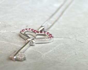 Diamond Key to Your Heart Necklace / Ruby Diamond Key / Sterling Silver Key / Necklace / Jewelry / Gift for Her