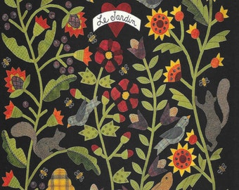 Greeting Cards, Wool Applique, Le Jardin, All Through the Night, Bonnie's Garden, Bonnie Sullivan, Greeting Card, Gift Card, Flower Garden