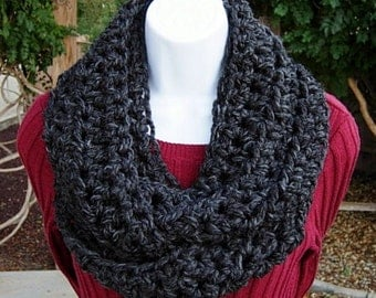 Infinity Scarf Cowl Loop Grey Gray Black Dark Charcoal, Soft Wool Blend, Lightweight Winter, Thick Neck Warmer, Ready to Ship in 2 Days