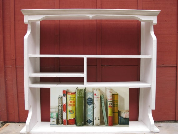 Large Kitchen Shelf Farmhouse Country Cottage Kitchen Hutch Curio Shelf Wood Book Case Painted White Display Shelving Handmade Vintage 1940s