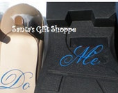 """Wedding Day Decals - Bride/Groom's Shoes - """"I Do"""" and """"Me Too"""" Vinyl Decals - (SHOES NOT INCLUDED) - Something Blue -  Bridal Shower Gift"""