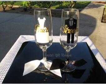 Bride & Groom Vinyl Decals - Wedding - Personalized Names - Rehearsal Dinner - Reception - DIY - Dress - Tux -