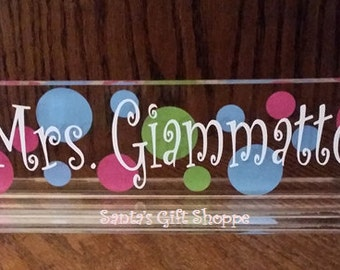 Teachers Name Plate - Desk Name Plate - Acrylic Name Desk Plate - Christmas Gift