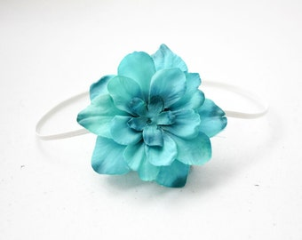 Turquoise Blue Vintage Inspired Flower Headband