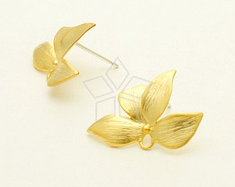 SI-657-MG / 2 Pcs - Wild Orchid Stud Earring, Matte Gold Plated, with .925 Sterling Silver Post / 21mm x 14.5mm