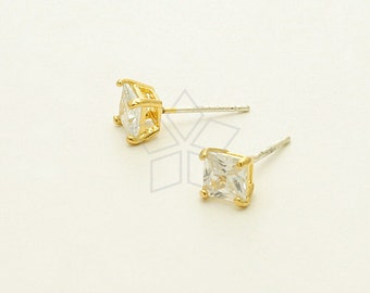 SI-665-GD / 2 Pcs - 5mm CZ Princess Cut Stud Earrings, 16K Gold Plated, with .925 Sterling Silver Post / 5.8mm x 5.8mm
