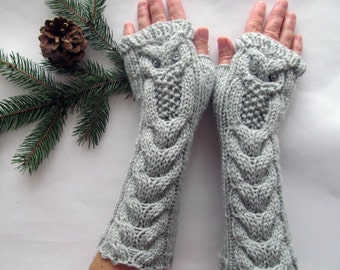 Owl Light Gray Long Hand Knitted Arm Warmers Fingerless Gloves, Woman Mittens, Eco Friendly,Christmas Gift, Gift for Her, Gift Ideas
