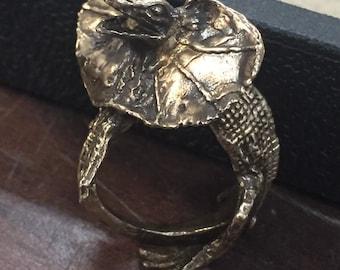 Lizard Ring, reptile ring, bronze, white bronze