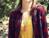 Medium Pink Filigree Antique Brass Tassel Fringe Charm Necklace Faux Suede