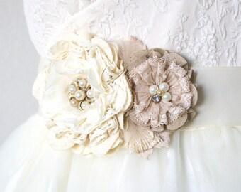 Floral Wedding Sash with Vintage Pearls, Lace and Rhinestones, Ivory White, Burlap, Taupe Bridal Sash, Bridal Belt, Fabric Flower Brooch