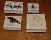 Rubber stamps x 4 - gently used - pig crow mouse and bunny rabbit - stamp supplies