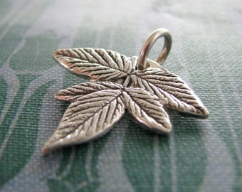 Earth Jewelry, Handmade Fine and Sterling Silver Pendant, Plant Series, Falling Leaves No. 2, SilverWishes by Kristan