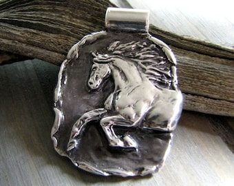 Soar, Fine Silver Handcarved Horse Pendant, Silver Horse Jewelry, SilverWishes by Kristan