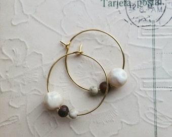 Beaded Hoop Earrings, Vintage Bead Earrings, Wood, Stone, Small Gold Hoops, Bohemian Jewelry for Women