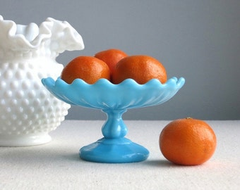 Vintage Turquoise Blue Milk Glass Footed Small Compote - Portieux Vallerysthal - Very Small Footed Bowl Dish