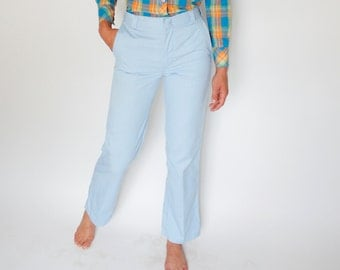 Vintage 80's light sky blue Wrangler slacks, poly cotton blend, straight leg, flat front, slim fit, casual, preppy, classic, pastel - Small