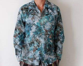 Vintage 70's SPIRE brand polyester shirt, long sleeved button down, fantasy, floral, tropical, sky, rainforest, blue, green - Medium / Large
