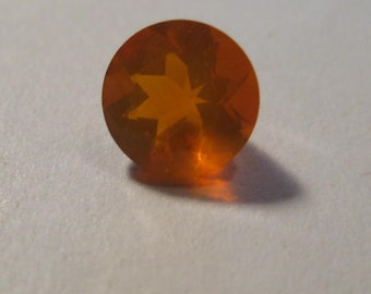 BRIGHT Orange Faceted Oregon Opal ...... 7.5 mm round x 5 mm tall ..  B2454