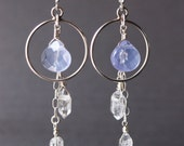 Herkimer Diamond and Lavender Quartz Sterling Silver dangle chandelier earrings with silver hoops for PEACEFUL MANIFESTATION