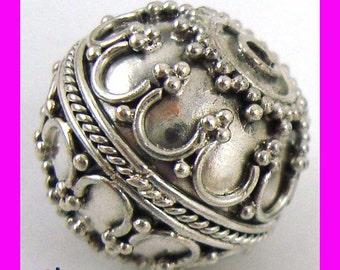 Sterling Silver Round Ornate bali Bead 16mm  B175