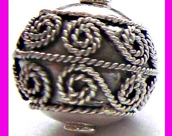 13mm Sterling Silver Round Ornate Bead B01