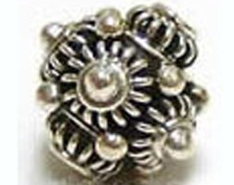 11mm Sterling Silver bali oxidized Ornate Bead B10