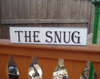 shabby chic distressed free standing the snug wooden sign plaque