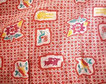 "Asian Block Print Birds Linen Fabric - Loose Rough Weave 45"" x 68"""
