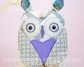 Modern stuffed Owl - Plush Owl toy - BWinks' Cotton and Chenille Cream Owl Pillow Friend