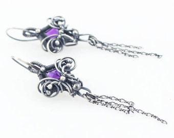 Amethyst, Fine Silver, Sterling, Wire Wrap Earrings, artisan jewelry, february birthstone, one of a kind jewelry, purple earrings, dangle