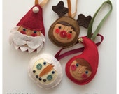 Four Handmade Christmas Decorations reindeer snowman santa elf