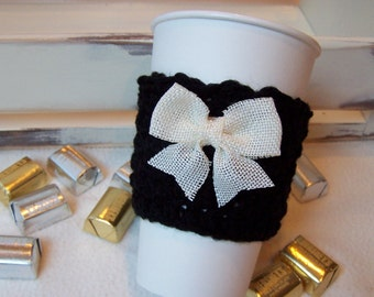 Crochet Coffee Cozy - BOO - Black with Cream Burlap Bow