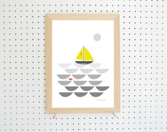 Digital Download Boat Scene Nursery Printable A4
