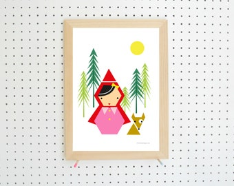 Red Riding Hood Forest Printable Red Pink Green A4