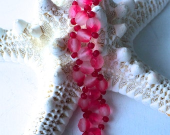 Frosted Cherry Red Czech Beaded Bracelet with Antiqued Toggle Clasp