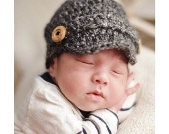 Crocheted Baby Newsboy Cap, Newsboy Hat, Baby Boy Hat, Baby Newsboy Hat, Baby Newsgirl Cap, Choose Any Color, Newborn Photography Prop