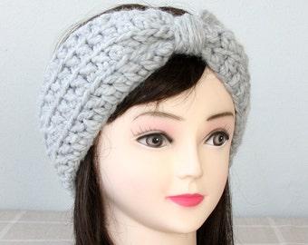 Womens crochet headband gray turban headband top knot headband crochet ear warmer winter headbands for woman chunky ear warmer fall fashion