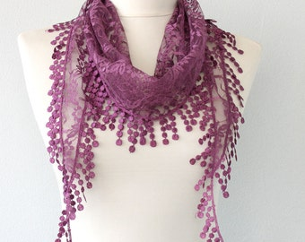 Purple lace scarf belly dance hip scarf lace shawl fringe scarf lace headband lace wrap fashion scarves for women bohemian head wrap