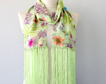 Fringe scarf silk scarf pistachio green scarf 1920s fashion scarves for women floral scarf fringed scarf christmas gift idea for her